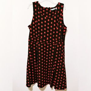 Hot pink polka dot fit and flare dress 2X